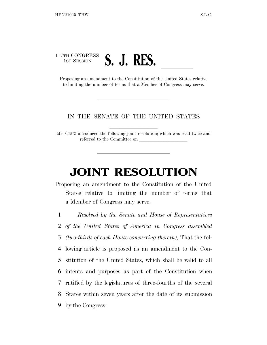 Today my colleagues and I reintroduced a constitutional amendment to impose #TermLimits on Members of Congress. The amendment would limit U.S. senators to two six-year terms and members of the U.S. House of Representatives to three two-year terms.