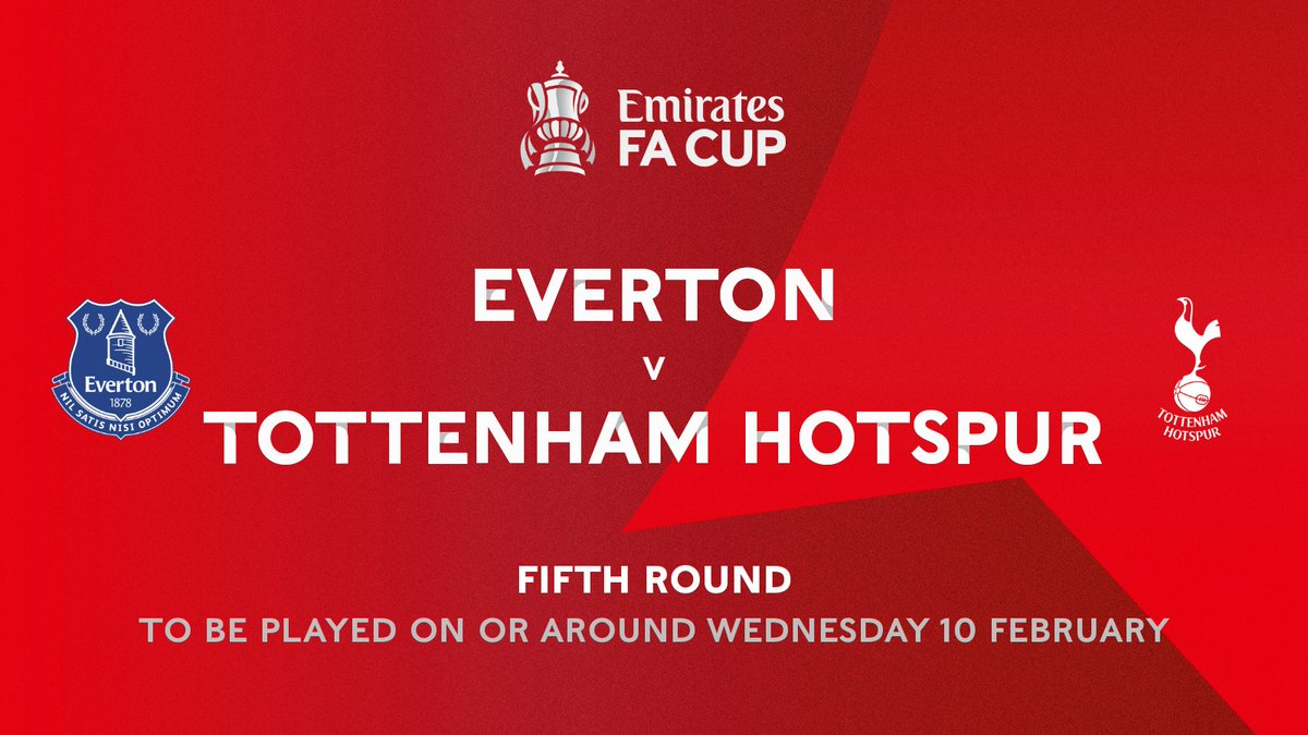 Another fifth round fixture confirmed 👀  An all Premier League affair...  @Everton 🆚 @SpursOfficial   #EmiratesFACup