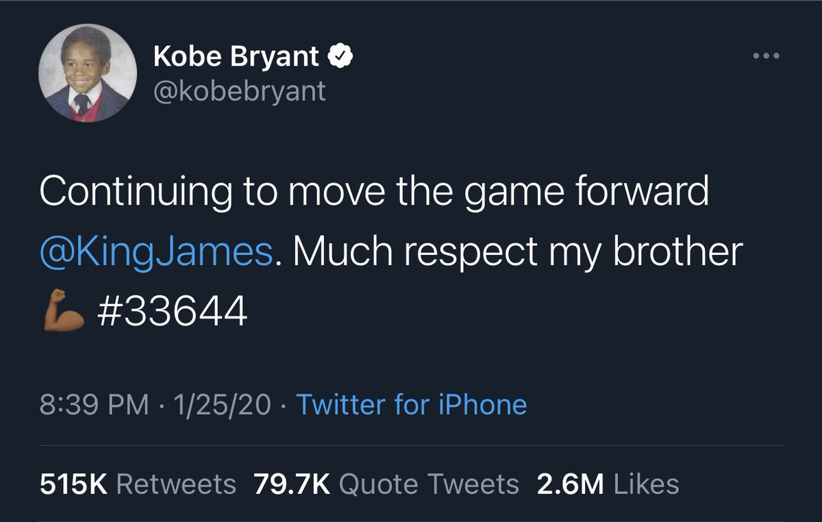 I can't believe this tweet from Kobe was one year ago today. Rip Mamba. 🙏🐍