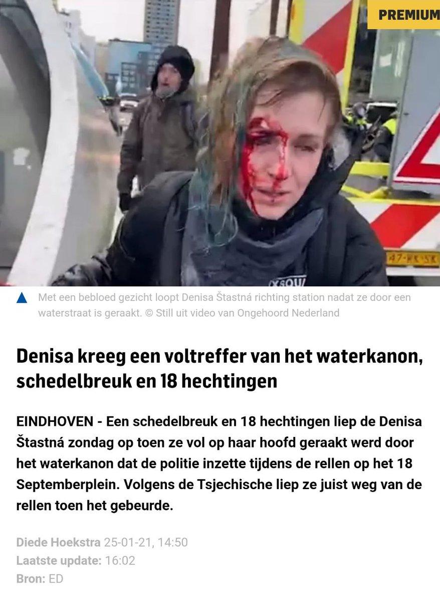 Gisteren meerdere videos gezien over dit voorval. Hoe schokkend erg. #FakeNewsMedia draait er weer verhaal van alsof het per ongeluk ging. Ze spoten eerst vooruit, daarna gerichte aanval op haar. Walgelijk @politie EHVN  #Eindhoven #demonstratie #rellen #romeos #politiegeweld