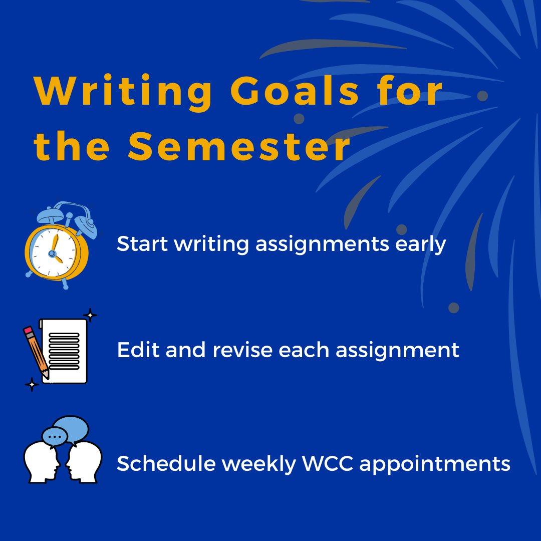 Here are some #nsuwcc writing goals for your #mondaymotivation ✍️ What are your semester writing goals? Let us know in the comments!