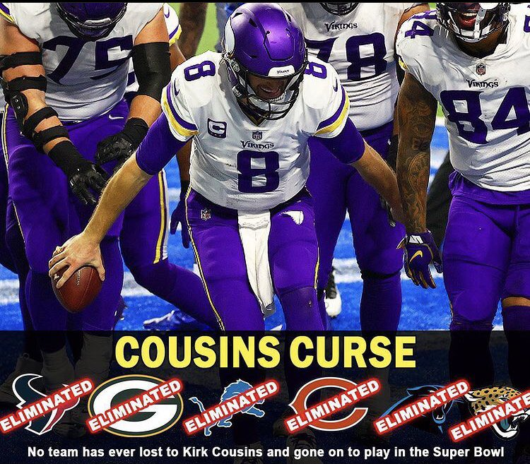 #PatIDontWantToOverreactBUT  Kirk Cousins is the 🐐 of keeping teams out of the Super Bowl, even his own teams. Vikings will go 12-4 in 2021 then  win the NFC Championship Game vs NY Giants and play the Buffalo Bills in Super Bowl 56 in the #DiggsRevengeGame