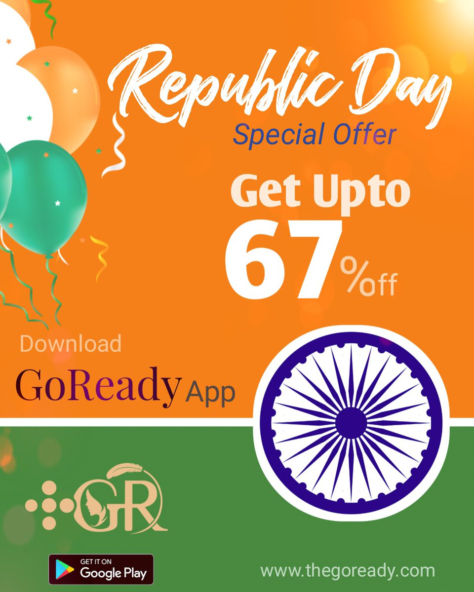 Republic Day Special Offer GET UPTO 67% OFF | GoReady - Professional Services at your Doorstep  Now in #Lucknow, #Raebareli and #Kanpur  Download GoReady App  :    #GoReady #UttarPradesh #India #RepublicDay #republicdayindia #RepublicDay2021 #गणतंत्रदिवस