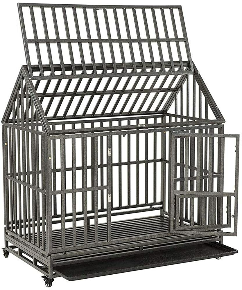 """SMONTER 48"""" Heavy Duty Strong Metal Dog Cage House Shape Pet Kennel Crate Playpen with Wheels,I Shap  #gifts #giftideas #dog #cat #puppy #pets  #blackfriday #thanksgiving #cybermonday @amazon #amazon #primeday"""