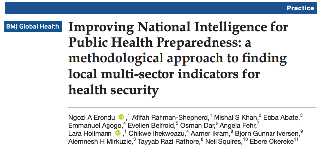 National Health Public Institutes (#NPHIs) are critical to monitoring & responding to #infectiousdisease threats.  In 2019, a team of NPHIs w/@CHGlobalHealth piloted an approach to expand potential indicators for #pandemicprepardness. Our work is out today in @GlobalHealthBMJ