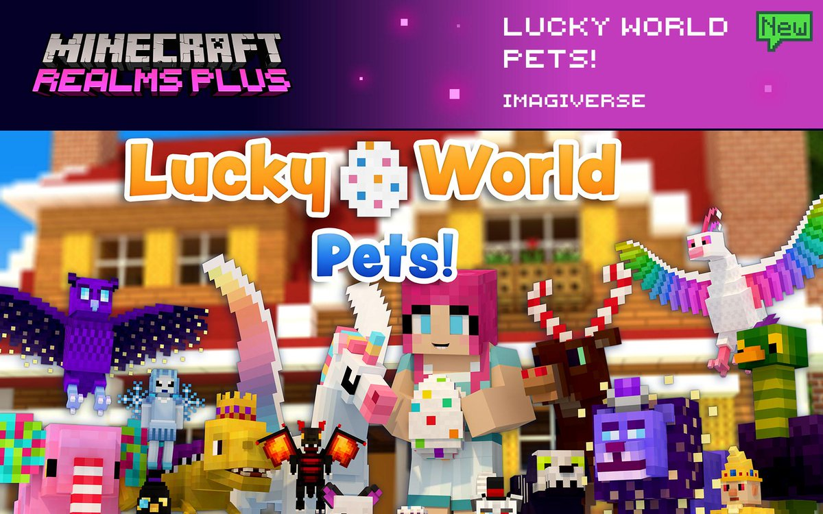 Jump into this lucky world to find over 250 unique pets to tame! Open lucky pet eggs and collect rare pets for your survival home. Discover countless new companions in Lucky World: Pets by @imagiversemc. Now included in Realms Plus!  🦄