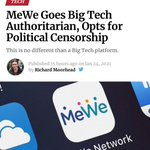 Image for the Tweet beginning: MeWe caves to Big Tech