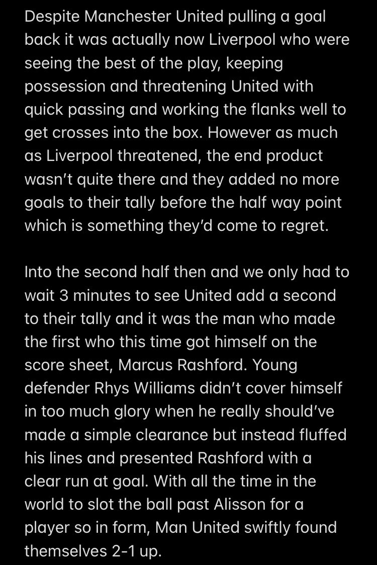 Part 2 of The #FACup Derby day write up #Liverpool #ManchesterUnited #MUNLIV 😎⚽️