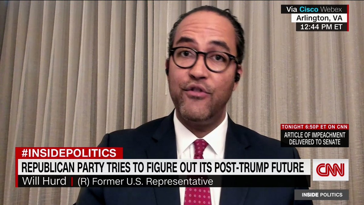 Former GOP Rep. Will Hurd on the Party after Trump: Republicans can be successful in the future by ensuring were based on clear values that represent American values. And there can be a diversity of thought ... It shouldnt be blind loyalty test to a certain individual
