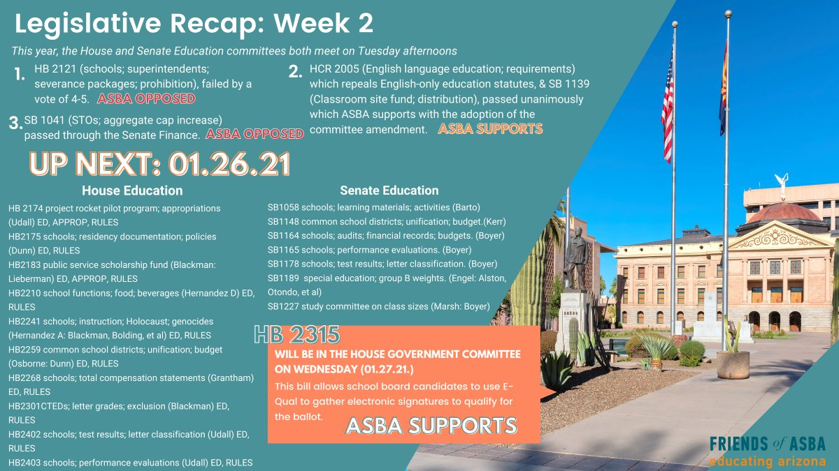 #ICYMI here's WEEK2⃣ #AZleg recap + what to expect for the coming week.  Preview agendas & #tunein to the #livestream tomorrow @ 2:00PM ⬇️ #AZHouse Education  #AZSenate Education