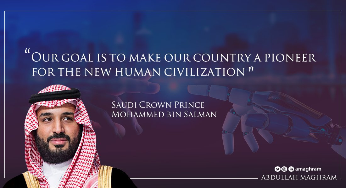 """""""Our goal is to make our country a pioneer for the new human civilization""""  Saudi Crown Prince Mohammed bin Salman 🇸🇦🇸🇦🇸🇦  #MohammedBinSalman #MBS  #Vision2030  #SaudiArabia  #KSA https://t.co/fLJ5z3yEUW"""