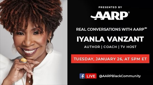 Can't wait to talk to @IyanlaVanzant tomorrow. Tune in on FB @AARPBlackCom @dreamleapers1 #inspiration #potential #fixmylife