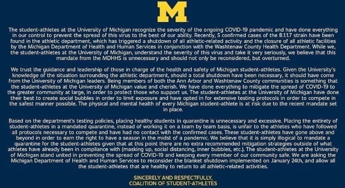 Michigan athletes are asking to be allowed to play. (Via @Myles_Amine)