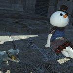 Image for the Tweet beginning: 蒼天街でで落ちてインしたら石畳にめり込んでおったわ #PS5Share, #ファイナルファンタジーXI