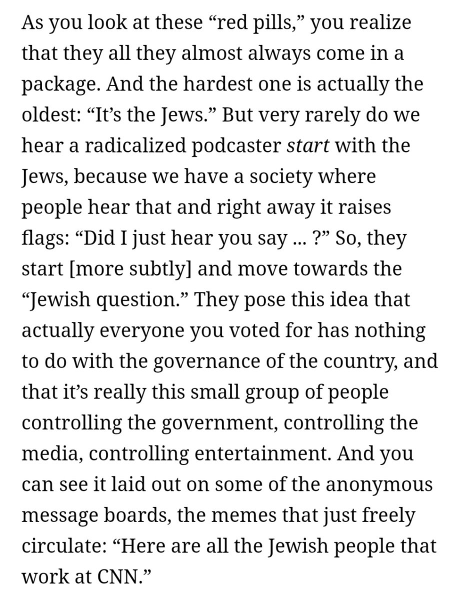"Something @BostonJoan told me: these conspiratorial 'red pills' ""almost always come in a package. … But very rarely do we hear a radicalized podcaster start with the Jews, because we have a society where people hear that and right away it raises flags""   https://t.co/C7dw4iRglz https://t.co/Ic80L0RdB3 https://t.co/yif6U8bbx8"