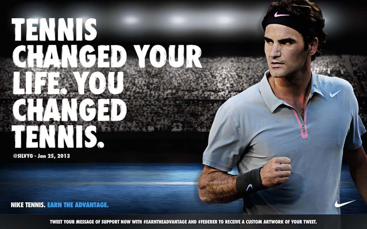 #2013 nice, nice yeah 😜  support campaign. My text was choosen. Is what I still think of @rogerfederer & tennis. Come back when you feel is time Rog🥰. Miss u
