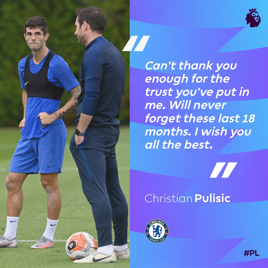 A heartfelt message from Pulisic to Lampard 💙