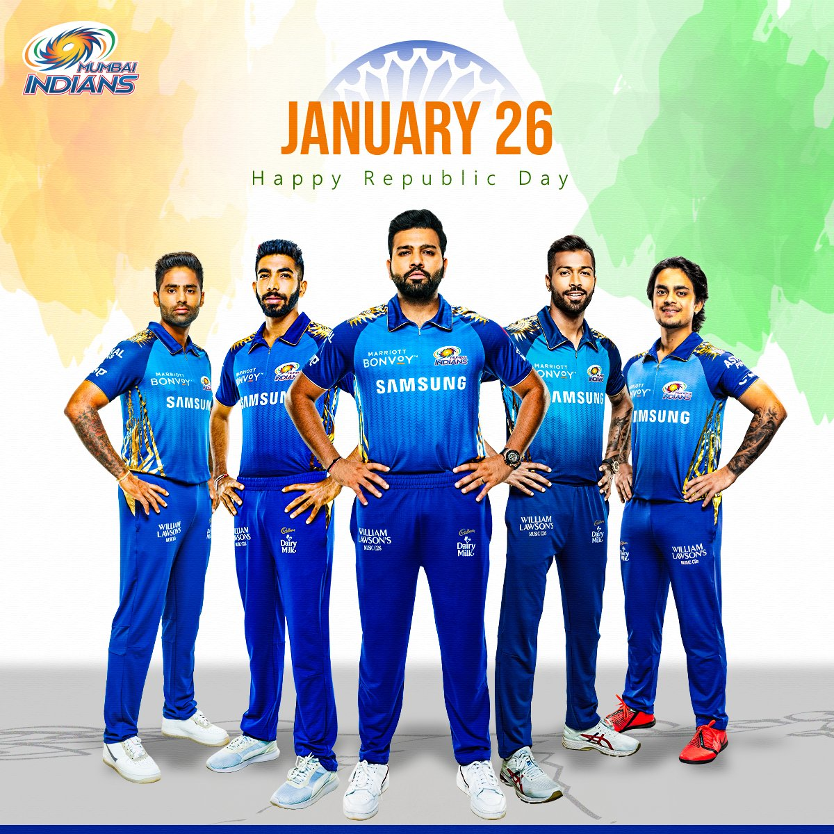 One nation. One vision. #OneFamily.  Happy #RepublicDay to all Indians celebrating 🇮🇳  #MumbaiIndians @ImRo45 @surya_14kumar @hardikpandya7 @Jaspritbumrah93 @ishankishan51
