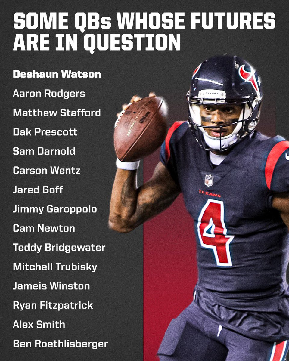 There are roughly 10 QBs locked into starting jobs for Opening Day of the 2021 NFL season. This is expected to be an unprecedented offseason of QB movement.  My Over/Under of teams changing QBs this off-season is 18. I'll go with the over.