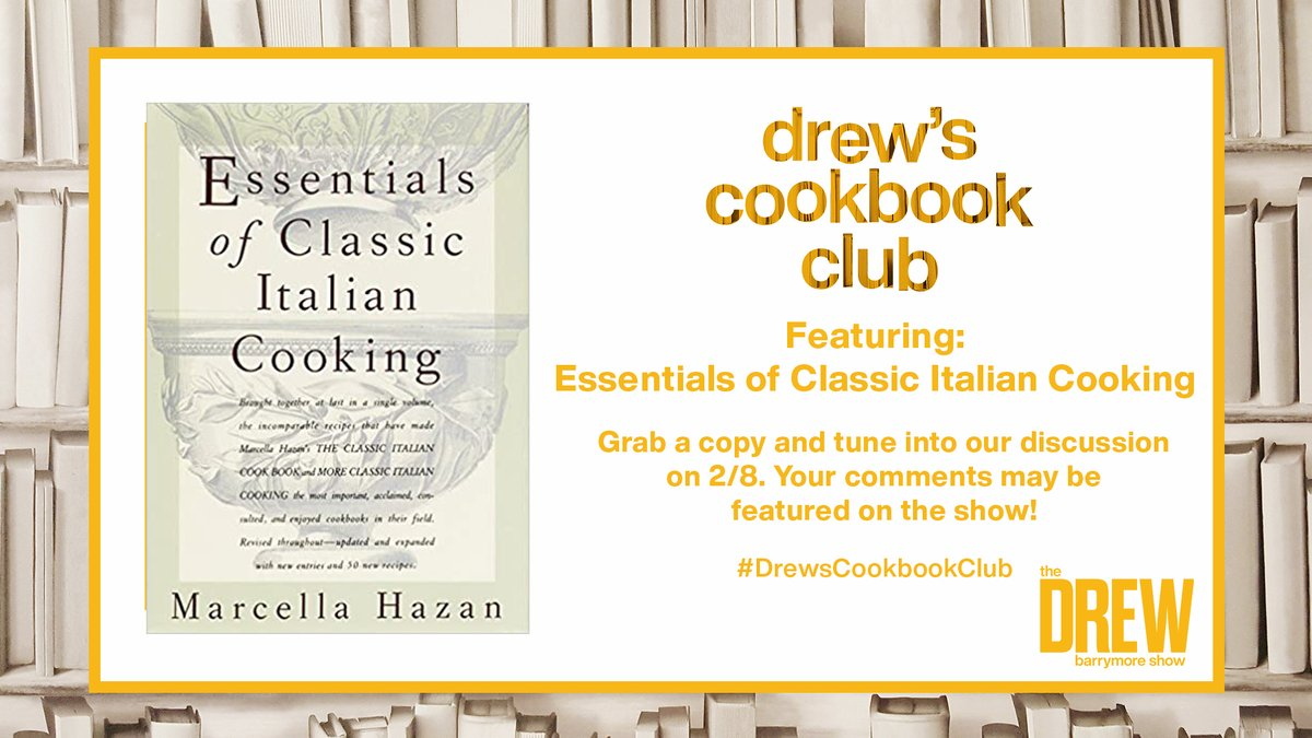 Have you made anything from Essentials of Classic Italian Cooking by Marcella Hazan? Send us your pics, favorite recipes, reviews & more using #DrewsCookbookClub & it just might be on the show! 📚