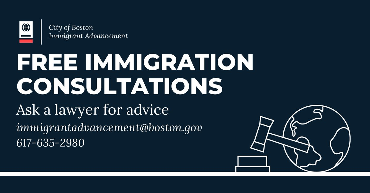 Call @BOSImmigrants at (617) 635-2980 or email immigrantadvancement@boston.gov to schedule a free immigration consultation with a volunteer lawyer. Interpretation and disability accommodations are available. #needalawyer #immigrationlawyer