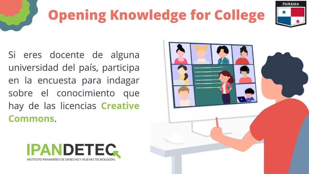 #Panamá 🇵🇦 | ¿Eres docente universitario? Te invitamos a completar esta corta encuesta sobre los conocimientos de las Licencias @creativecommons como herramientas de conocimiento libre.  👉Participa en