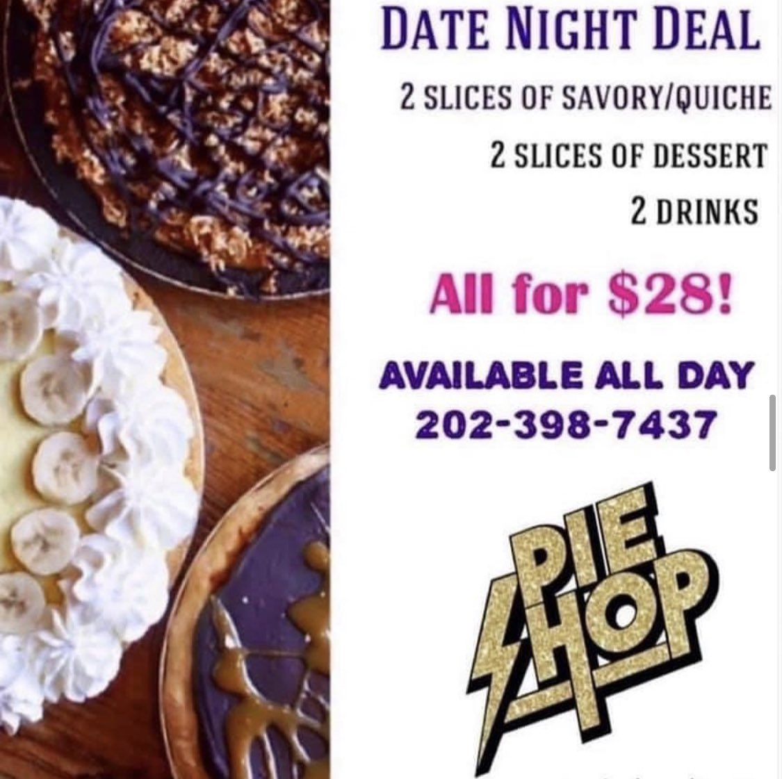 Date Night Deal is ON! Head on down for the best deal in town! Open til 9pm for curbside pickup & delivery. Find Pie Shop on UberEats, Postmates, ChowNow & DoorDash. Thanks for supporting your local pie shop! #datenight #deals #supportlocal #mondaymotivation #supportsmallbusiness