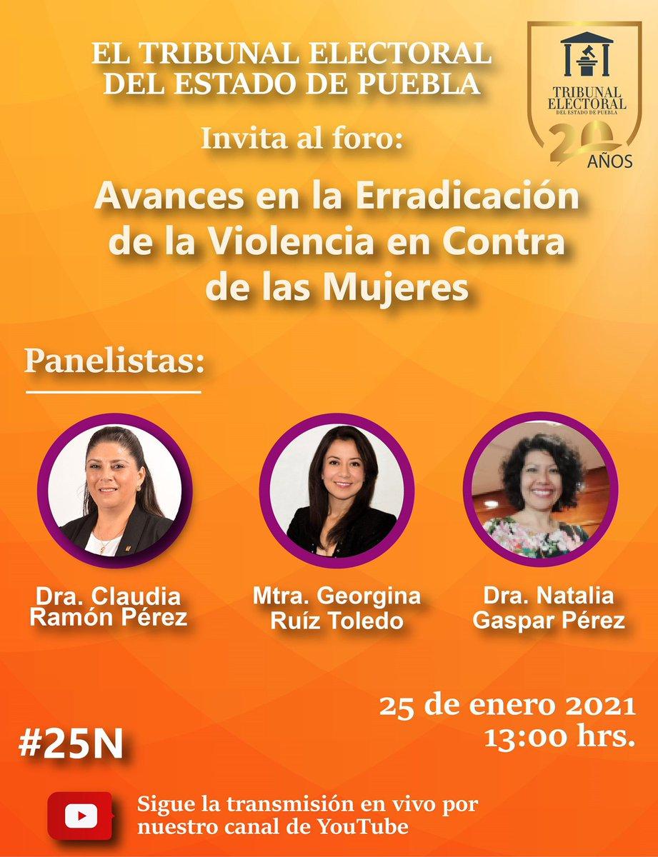 """Acompáñanos !!!!!!!  En el @trielecpue en el marco de la erradicación de violencia de género este 25 de enero el Panel:   """"Avances en la erradicación de la violencia en contra de las mujeres""""  👇🏼🎬   #PintaElMundoDeNaranja  #25N #dianaranja"""