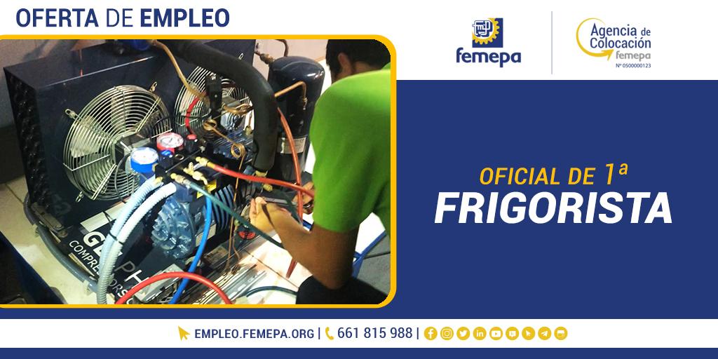 #FemepaEmpleo   Empresa mantenedora e instaladora solicita OFICIAL 1ª #FRIGORISTA para📍 #GranCanaria. 🧐  Más información ➡️   -- Consulta esta y otras ofertas más ☺️ en nuestra Agencia de Colocación: 🌐  / 📱 661 815 988