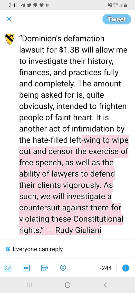 Rudy just responded to #DominionVotingSystems lawsuit... #CrookedJoeBiden #CrookedHillary #FakeNewsMedia #voterfraud #stopthesteal it's on like donkey kong!!