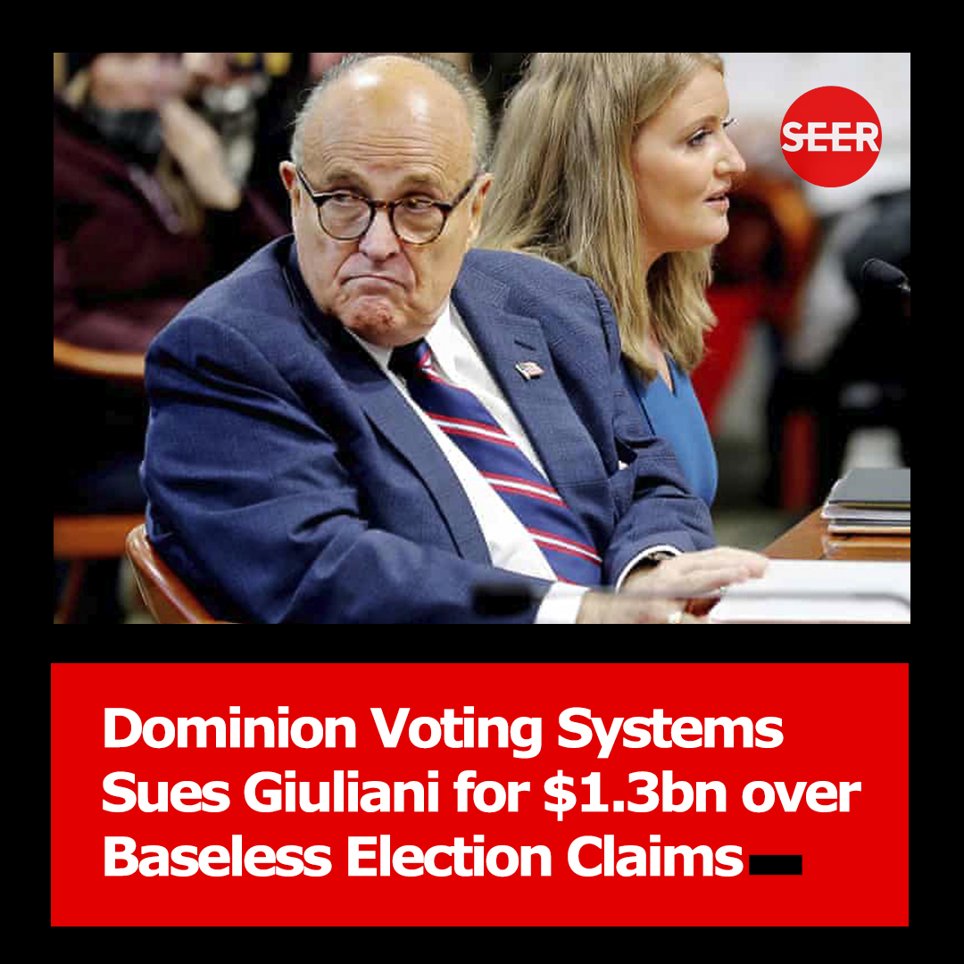 #Dominion Voting Systems, the voting equipment manufacturer at the centre of baseless election fraud conspiracy theories pushed by Donald #Trump and his allies, has sued the former president's personal attorney #RudyGiuliani in a $1.3bn defamation lawsuit.