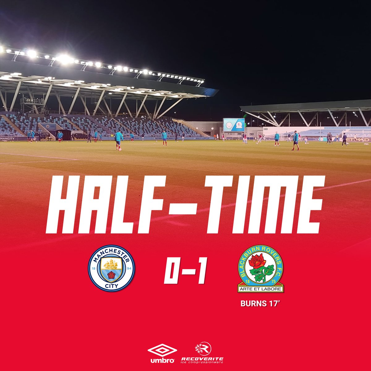 ⏱️ HT: #MCFC 0-1 Rovers  A really positive first half for the visitors, who take the advantage into the interval thanks to Burns' close range finish.  #Rovers | #PL2 🔵⚪️