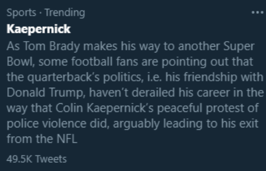Yeah good point. Why does the greatest player in the history of the sport still have a football career while this mediocre loudmouth who got benched for Blaine Gabbert and then started protesting the anthem for attention doesn't???? Must be racism!!!1! https://t.co/w1sZD5TM7r