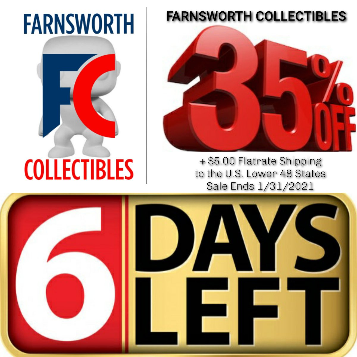 Only 6 Days Remaining! Funko Pops! 35% OFF + $5.00 Flatrate Shipping (Shipping rate only for Lower 48 USA)    #farnsworthcollectibles #sale #sales #promo #promotion #ad #advertising #percent #discount #discounts #funkopopsale #marvel #dcuniverse #anime