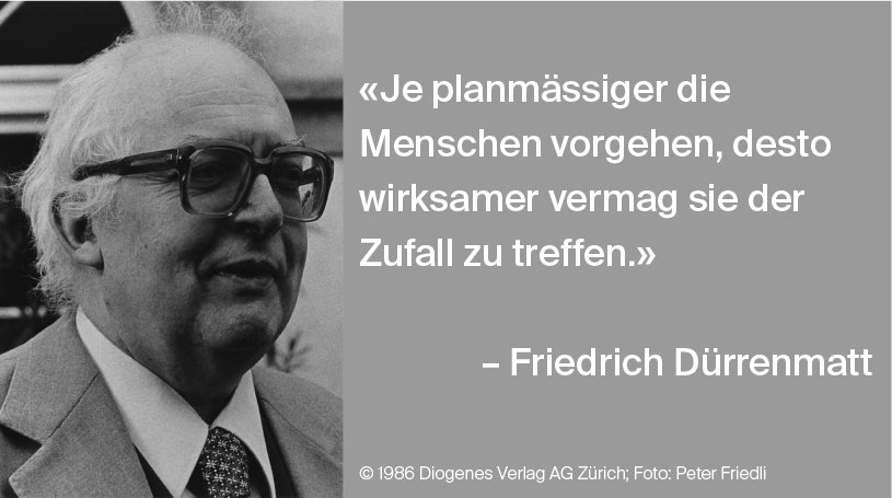 """Quote of the Day! 👓 📚  """"The more human beings proceed by plan the more effectively they can be hit by chance.""""  #MondayMotivation #Durrenmatt100 #swissliterature"""