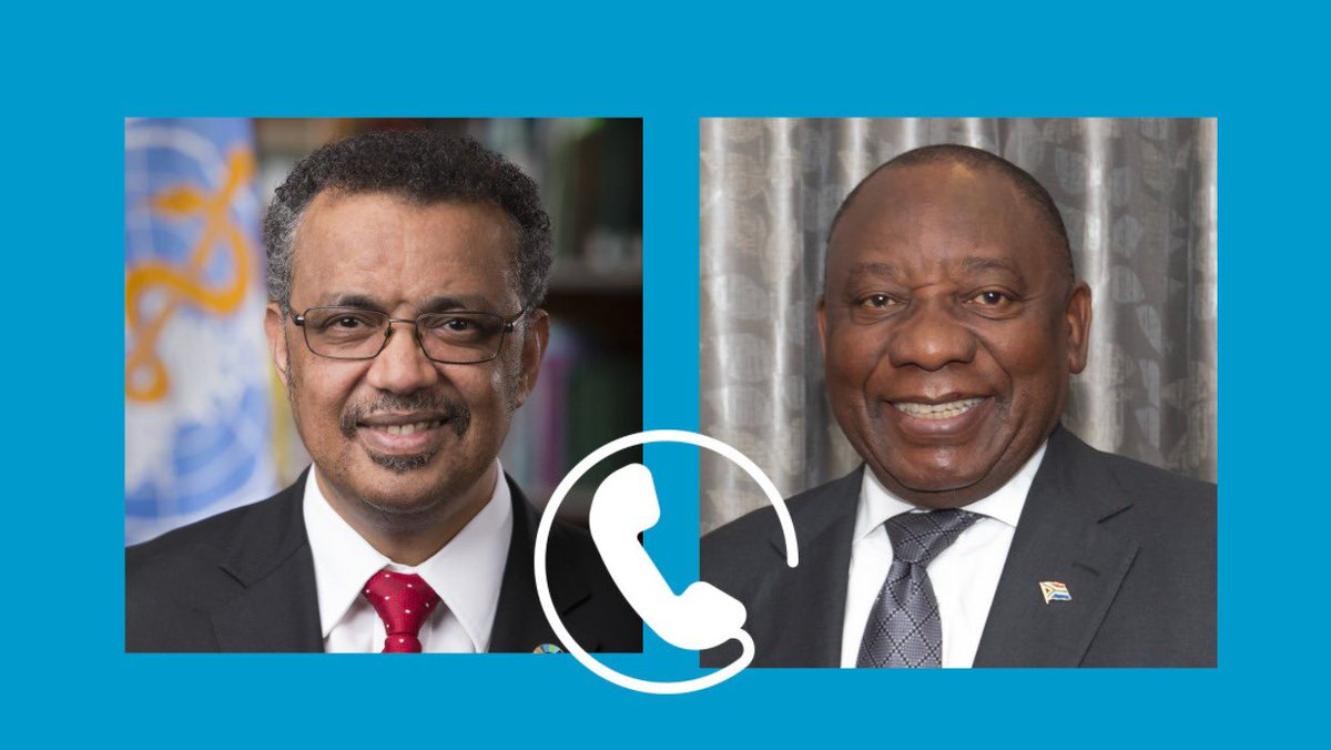 Very productive call with my brother, #SouthAfrica 🇿🇦 President @CyrilRamaphosa, on ensuring #COVID19 vaccines get to those most in need in Africa. I thanked him for the chance to address @_AfricanUnion health & finance ministers on Wednesday, & appreciated 🇿🇦's natl. response.
