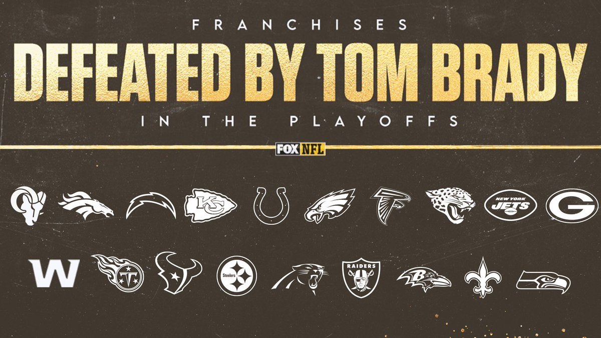 TB12 has broken a lot of hearts 💔  @TomBrady has now defeated 19 different NFL franchises in the playoffs.