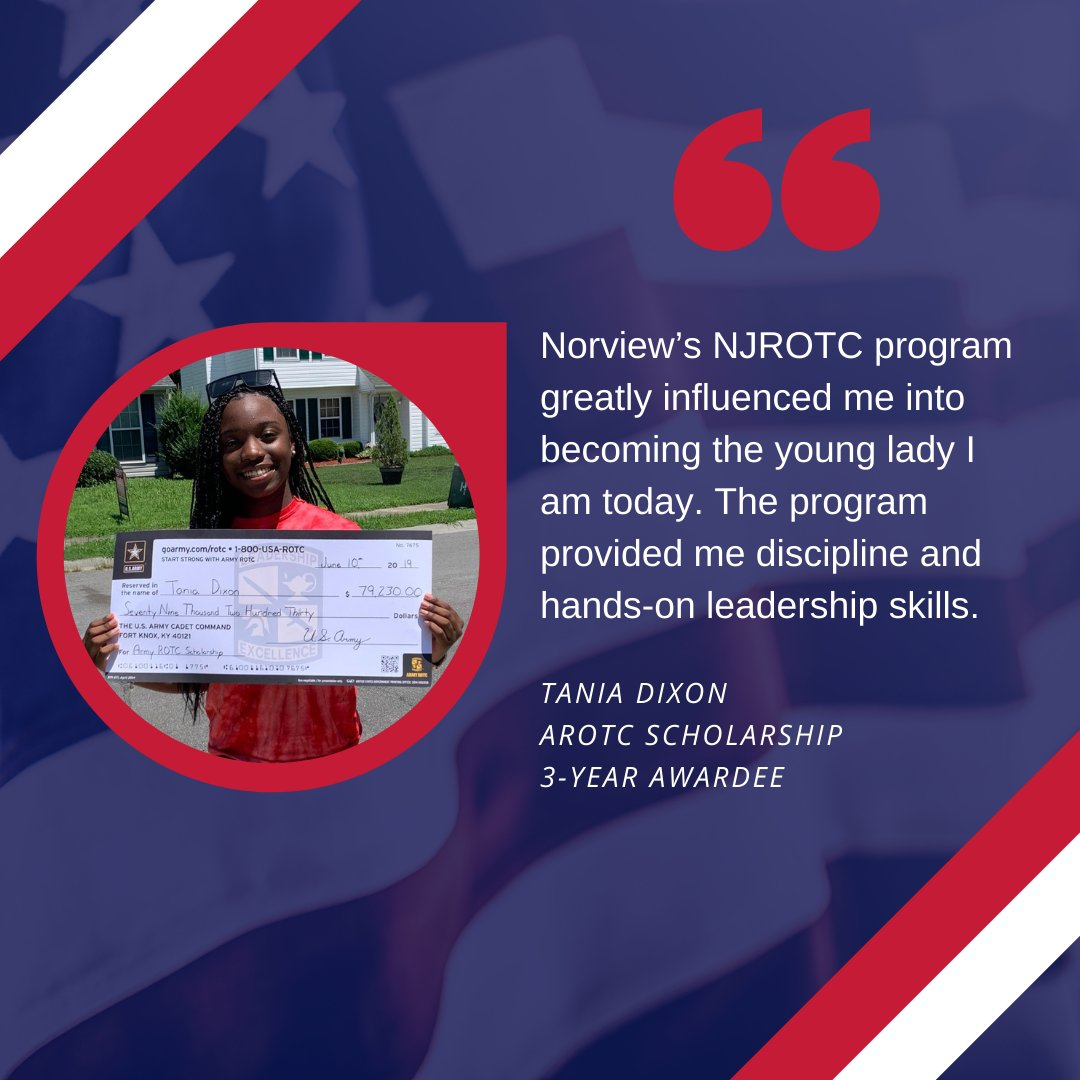The NJROTC program gave Tania Dixon the opportunity to flourish and learn how to become the best that she can be. Her determination and skills will bring her even bigger opportunities. We can't wait to see her grow even further!  #rotc #army #scholarship #leadership #motivation