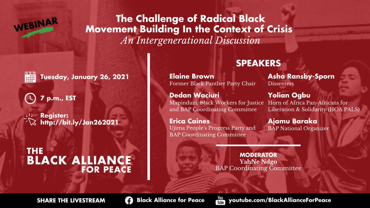 We see the challenge of the current moment as building structures & institutions that consolidate independent Black working-class power while the U.S. relies on repression & war to maintain dominance. Register for our webinar happening tomorrow 👇🏿