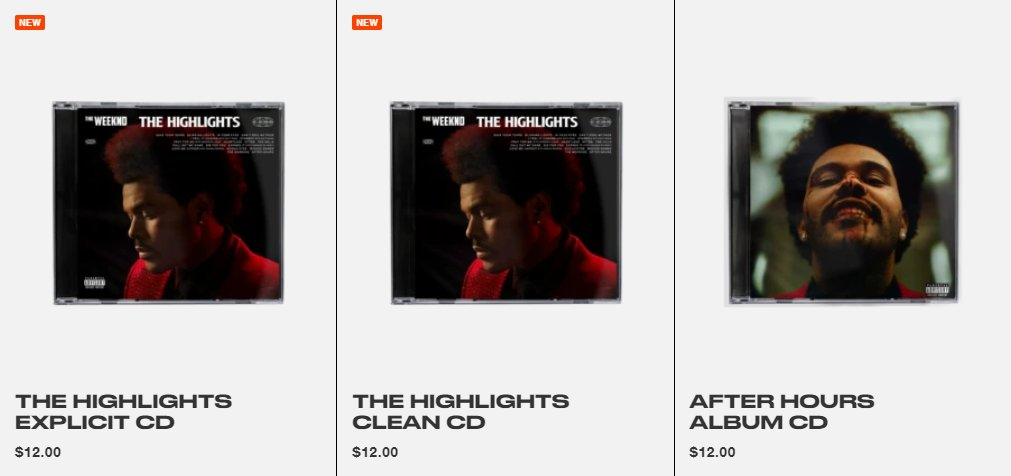 All the items from The Weeknd's shop has been removed except the new CD & After Hours.
