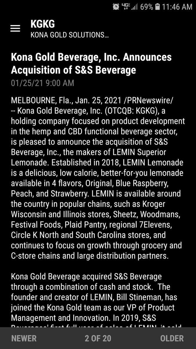 $KGKG Kona Gold beverage acquires S&S beverage! The makers of LEMIN Superior lemonade!   Kona Gold is growing folks, lemonade and CBD beverages are hot!! #Lemonade #Hemp #CBD #StocksToBuy #stocks #drinklemin