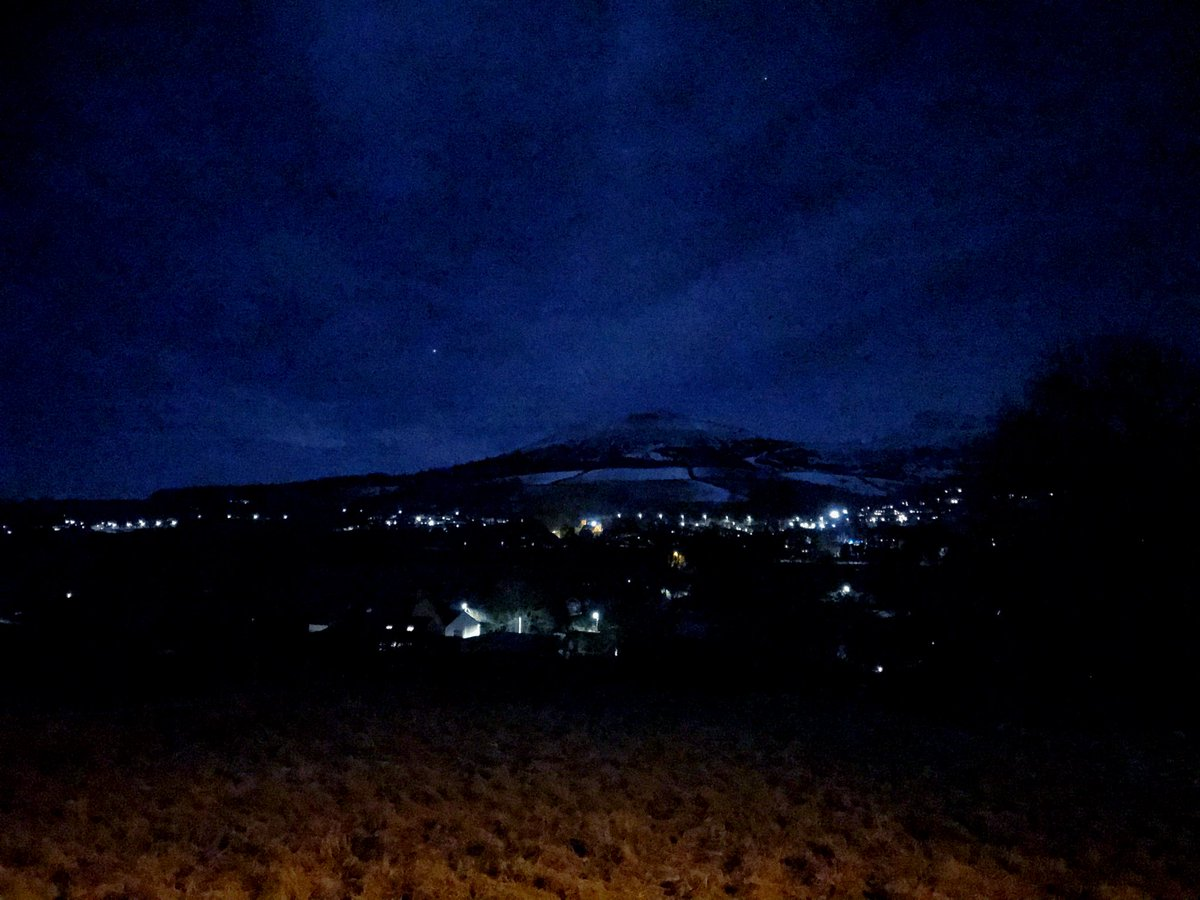 It was a very blue sky out on our walk around the village tonight. #scottishborders #night #nightsky #blue #lights #eildonhills