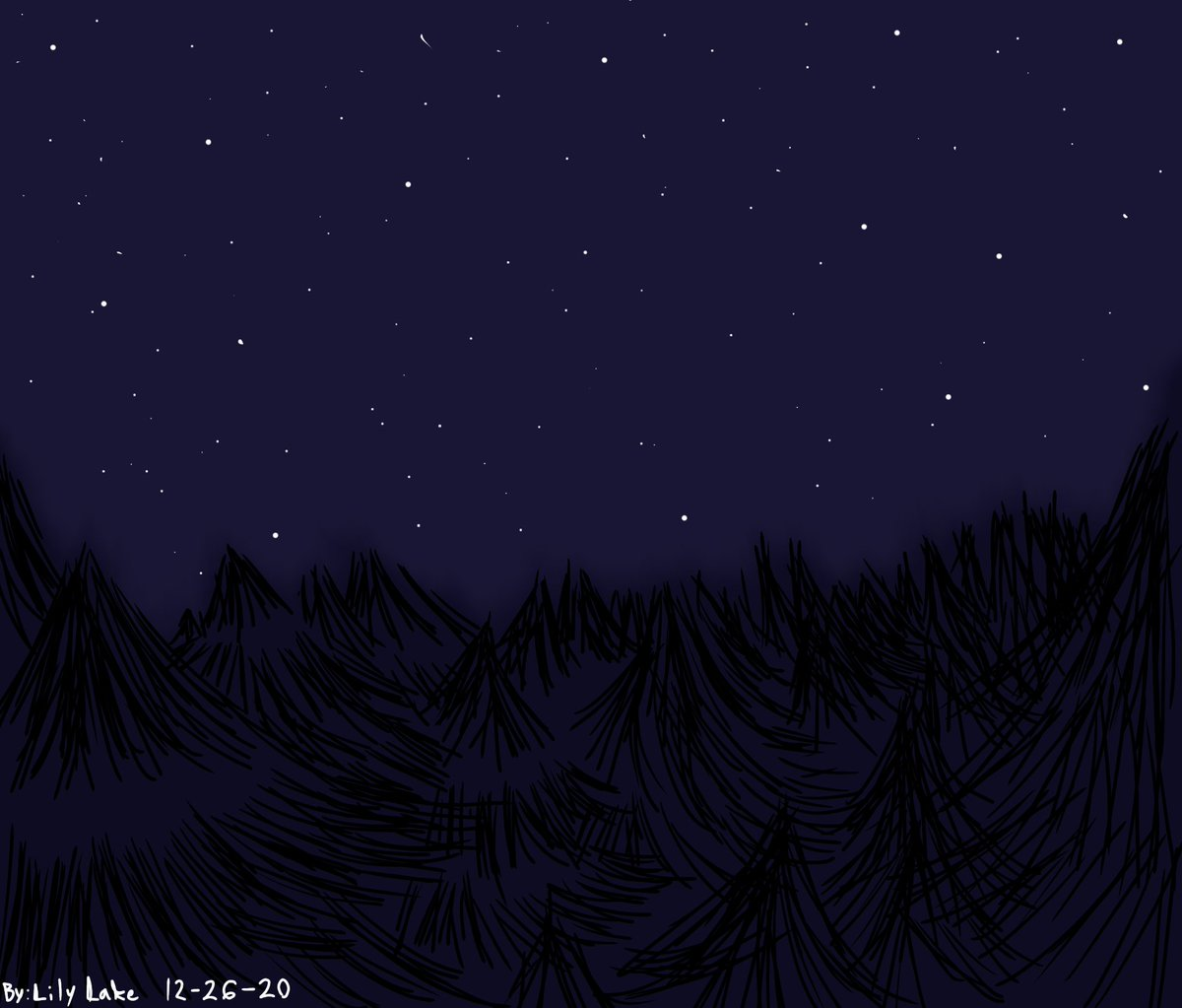 I'm definitely proud of drawing a background. (For the first time as well too btw-) #backgroundart #art #night #stars #trees #oaktrees