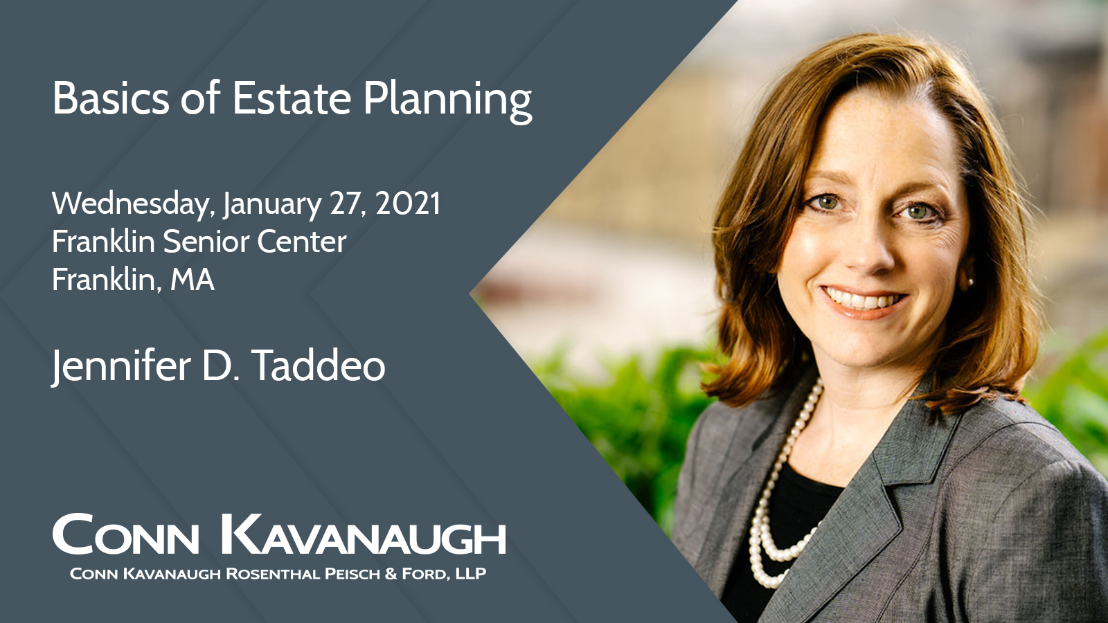 Basics of Estate Planning - Franklin Senior Center (virtual session) - Jan 27