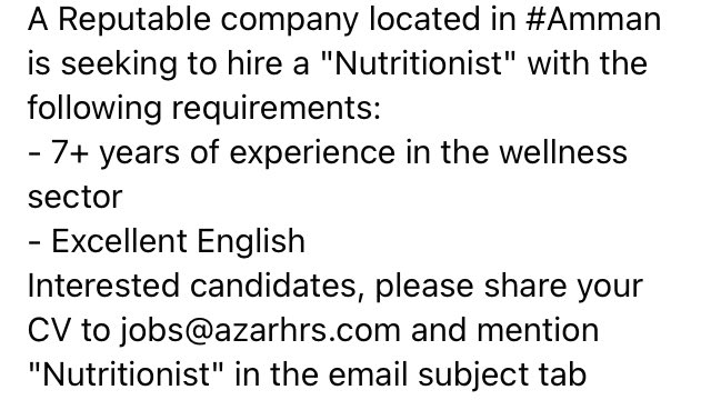 #Jordan #Nutrition #FindMeAJob #Repost