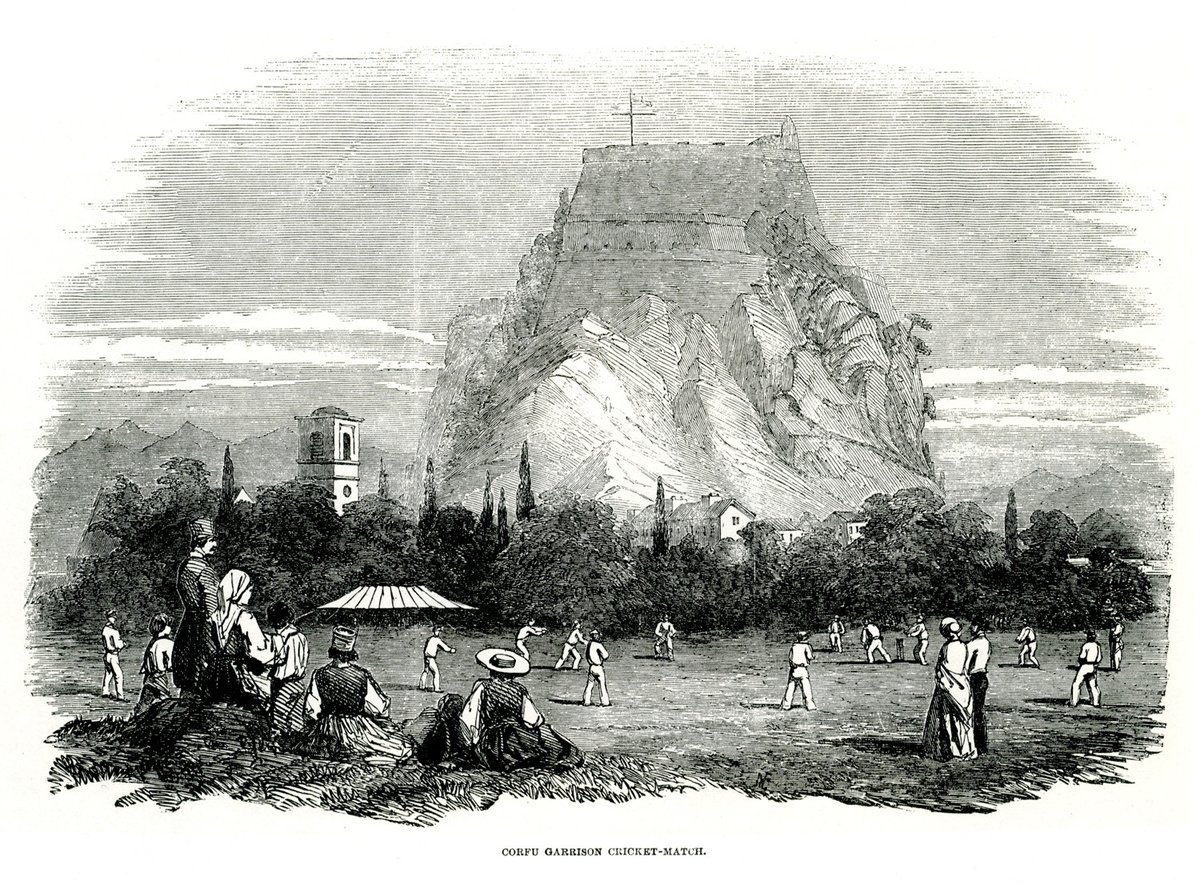 Cricket lives on as independently as the patron saint. It is a mysterious and satisfying ritual which the islanders have refused to relinquish. — Lawrence Durrell, Prospero's Cell (1945) #corfu #cricket Cricket match at Spinada, Corfu (July 1853)