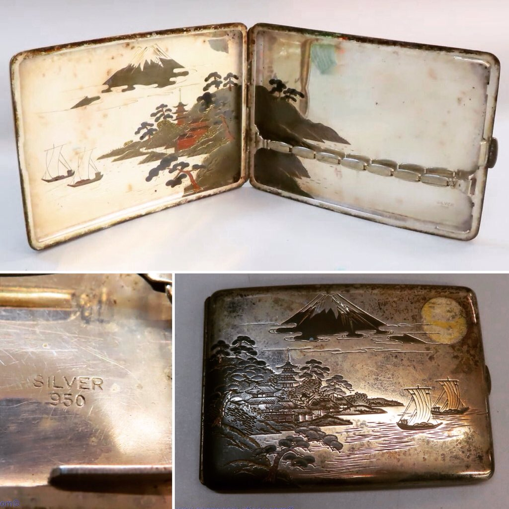 "Japanese art deco engraved sterling silver cigarette case marked 950; 3 x 4.5"", weighs 120.6 gms • • • • #cigarette #smokegetsinyoureyes #sterlingsilver #artdeco #artdecosilver #japanesesilver #silvercigarettecase  ***WED 27 JAN***"