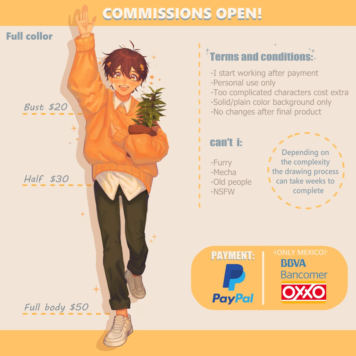 🌿✨COMMISSIONS OPEN✨🌿  🔸Order form:  -commission type -character reference -expression and pose -paypal adress (si eres de México, poner la forma de pago que desees)  If you are interested, send me a DM with the order form information.  RT's appreciated 💛 Thank you