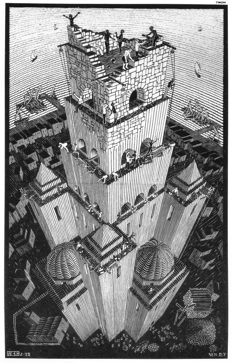 Tower of Babel, 1928 #escher #mcescher