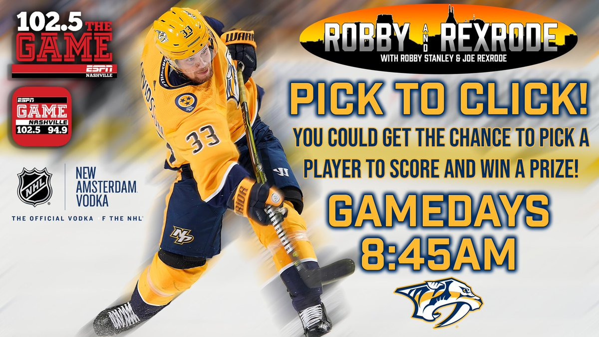 Tune in to Robby & Rexrode tomorrow at 8:45 am for your chance to play Pick to Click!  @RStanleyNHL   @joerexrode   #Preds